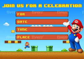 Pak De 25 Invitaciones De Fiesta De Mario Bros Para Ninos 625 00 En Mercado Libre