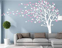 Amazon Com Large Tree Blowing In The Wind Tree Wall Decals Wall Sticker Vinyl Art Kids Rooms Teen Girls Boys Wallpaper Murals Sticker Wall Stickers Nursery Decor Nursery Decals White And Pink Left Home