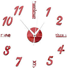 Amazon Com Chezmax 3d Diy Wall Hanging Clock Murals Decal Sticker Acrylic Wallpaper For Mordern Art Design Office Meeting Room Decorations Red Numbers Home Kitchen