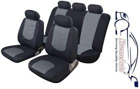 avus grey black leather look car seat