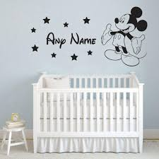 Mickey Mouse Name Custom Wall Sticker Vinyl Personalized Boys Bedroom Animal Wall Decal Removable Art Home Rooms Decor Z161 In Wall Stickers From Home Garden On Aliexpress