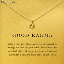 good karma lotus necklace gold color