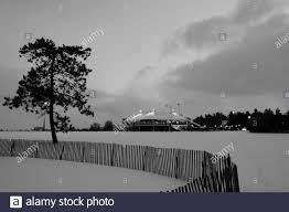 Black And White Shot Of A Solitary Tree Behind A Snow Fence In Commissioner S Park With Dow S Lake Pavilion Behind Ottawa Ontario Canada Stock Photo Alamy