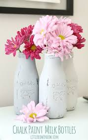 how to chalk paint glass milk bottles