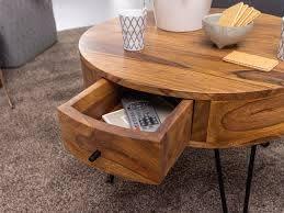 Holz Couchtisch Rund Mit Ablage