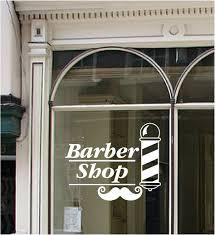 Barber Shop Sign Vinyl Window Sticker Pole Moustache Hair Wall Art Ebay
