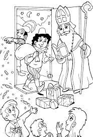 Kleurplaat Sinterklaas Zwarte Piet Piet Strooit Snoep