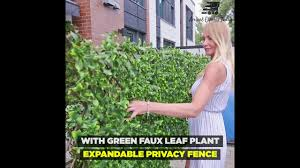 Green Faux Leaf Plant Expandable Stretchable Privacy Fence Youtube