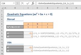solve quadratic equations in excel