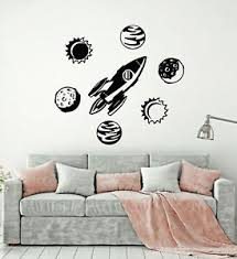 Vinyl Wall Decal Space Rocket Planets Cosmic Universe Kids Room Stickers G2631 Ebay