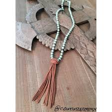 bead leather tassel necklace