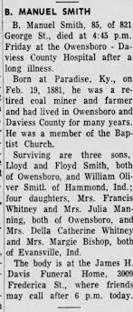 Obituary for B. MANUEL SMITH (Aged 85) - Newspapers.com