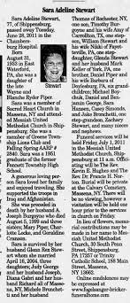 Obituary for Sara Adeline Stewart, 1933-2011 (Aged 77) - Newspapers.com