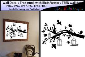 Teen Girl Bedroom Wall Decal Wall Decal Silhouette Birds Svg Silhouette Tree With Bird 45562 Illustrations Design Bundles