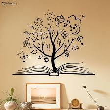 Book Tree Wall Decal Library School Vinyl Sticker Unique Home Art Decor Reading Room Decoration Removable Murals Kids Rooms Sk13 Tree Wall Decal Kids Roomroom Decoration Aliexpress