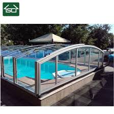 China Outdoor Uv Protection Waterproof Transperent Retractable Pool Cover And Enclosure For Inground Pool China Swimming Pool Cover Price And Swimming Pool Cover Above Ground Price