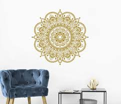 Amazon Com Gold Mandala Wall Stickers Mandala Lotus Decal Lotus Flower Wall Art Yoga Studio Decals Gold Mandala Namaste Wall Sticker Boho Bohemian Bedroom C172 Handmade
