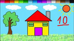 Hướng dẫn bé vẽ bức tranh ngôi nhà cực kì đơn giản