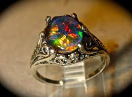 black opal engagement ring vintage