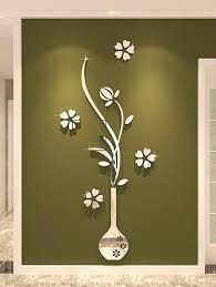 32 Off 2020 Diy Vase Floral 3d Home Decoration Wall Stickers In Silver Dresslily