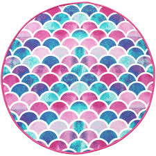 Beautiful Ultra Plush Mermaid Non Slip Area Rug Colorful Kids Playroom Bathroom Or Bedroom Carpet Bright Pink Purple Aqua And Turquoise Colors Play Mat For Young Girls Toddlers And Children