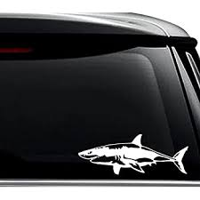 Amazon Com Shark Silhouette Jaws Vinyl Car Decal Sticker 1741 Vinyl Color White Automotive