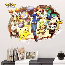Cartoon Pokemon Go Wall Stickers For Kids Rooms 3d Broken Pikachu Poster Nursery Home Decor Decorative Decal Mural Leather Bag