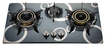 flame 3 burner gas hob with glass top