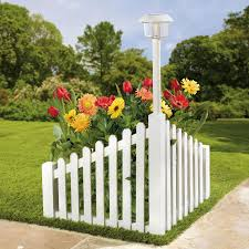 White Wood Corner Fence With Solar Powered Light Decor Garden Brylanehome Fence Landscaping Fence Decor Backyard Fences