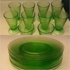 green depression glass le