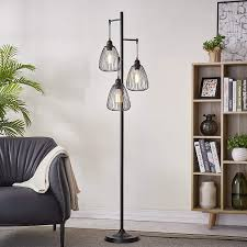 Amazon Com Leezm Black Industrial Floor Lamp For Living Room Modern Floor Lighting Rustic Tall Stand Up Lamp Vintage Farmhouse Tree Floor Lamps For Bedrooms Office Torchiere Standing Lamp 3 Light Bulbs Included