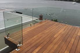 Frameless Glass Balustrade With Marine Grade 316 Stainless Steel Deck Mounted Spigots Decking Sydney