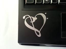 Pin By Joe Fk On Pochoirs Heart Decals Laptop Stickers Clef Heart