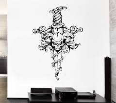 Wall Decal Skull Skeleton Sword Poison Ivy Flower Monster Vinyl Decal Wallstickers4you