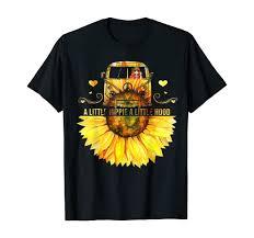 Amazon Com Sunflower A Little Hippie A Little Hood Funny Hippie Shirt Clothing