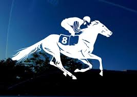 Amazon Com Amiart Race Horse Decal X Large 11 X 6 8 Inch Facing Right Outdoor Vinyl Decal Sticker Perfect For Car Trailer Truck Wall Window Horse Racing Lovers Item Automotive