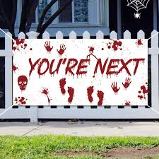 Halloween Bloody Banner Party Decorations Large Fabric 73 X 36 Durable Banner For Wall Office Fence Yard Garage Backdrop Indoor Outdoor Decor Amazon In Toys Games