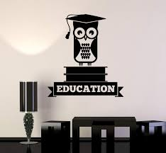 Vinyl Wall Decal Education Owl Books School University College Decor S Wallstickers4you