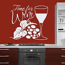 Amazon Com Ditooms Wall Decals Quote Time For Wine Decal Grapes Wineglass Wine Vinyl Sticker Home Decor Interior Design Kitchen Cafe Restaurant Home Kitchen