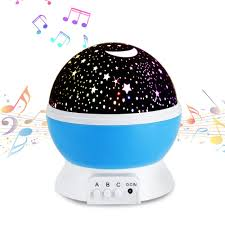Amazon Com Music Night Light Projection Lamp Baby Star Lamp 360 Degree Rotating 8 Multicolor Changing With Rechargeable Battery 12 Soft Light Music For Relax And Sleep Unique Lamp For Kids Woman