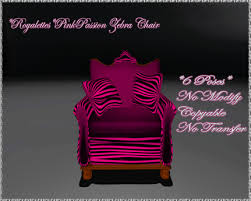 Second Life Marketplace Royalettes Pink Passion Zebra Chair Boxed