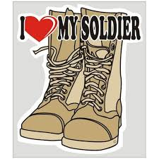 I Love My Soldier Decal Tan Boots