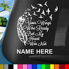 Personalized In Memory Of Cat Wings 2 Vinyl Decal Wall Car Window Laptop