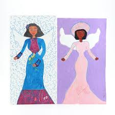 Addie James Folk Art Acrylic Paintings of Angels   EBTH