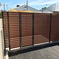 China Garden Wood Grain Privacy Aluminum Slat Fence Double Swing Gate China Doors And Aluminum Gate Price