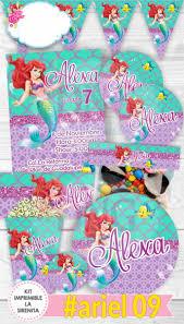 Sirenita Ariel Etiquetas Invitacion Decoracion Fiesta Glitte