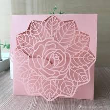 Compre Una Rosa En Flor Laser Cut Pearl Papel Invitaciones De Boda