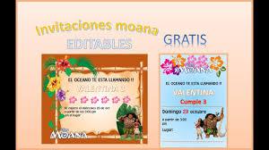 Invitaciones Moana Editables Gratis Youtube