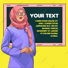 مضحك المعلم المسلم و السبورة حرف المتجه فتاة لطيفة Png