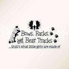 Amazon Com Wall Vinyl Decal Home Decor Art Sticker Bows Racks Bear Tracks That S What Little Girls Are Made Of Baby Girl Moose Alaska Hunting Theme Camo Room Home Room